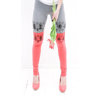 Coral pink tulipsize XS leggings by ZIBtextile on Etsy