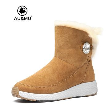 2017 AUMU Australia Womens Ankle Fur Suede Crystal Bling Short Winter Snow Boots UG NY081