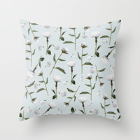 Peonies Winter Mist Throw Pillow by Lisa Argyropoulos | Society6