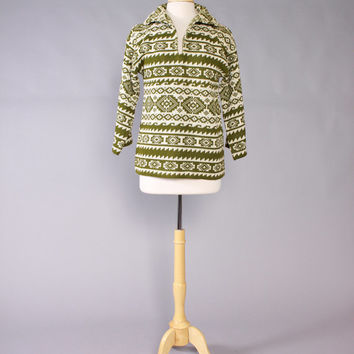 Vintage 60s SWEATER / 1960s Unworn Women's Green & Ivory Ski Sweater with Tags M
