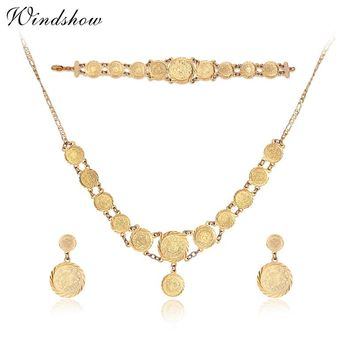 New Women Wedding Statement Jewellery Yellow Gold Color Round Coins Necklaces & Pendants Earrings Bracelet Bridal Jewelry Sets