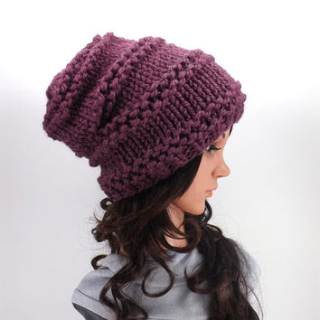 Knitted Chunky Slouchy Hat Beanie /FIG/, Unisex Slouchy Beanie, Men Woman Knit Hat, Gift Idea