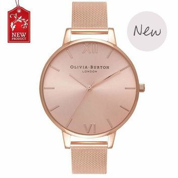 ESBONMI Ladies watch OLIVIA BURTON fashion simple English fresh stainless steel mesh belt quartz watch.