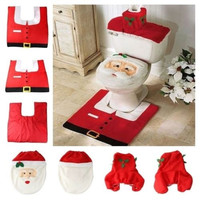 Household  Christmas  Santa Claus Cloth Toilet  Foot Pad Cover Toilet Seat Cover Radiator Cap Cover Decorations Bathroom Set = 1945804292