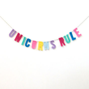 """Unicorns Rule"" Felt Party Banner in Pastel Rainbow"