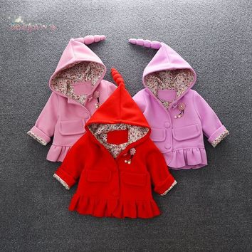 Autumn Winter Baby Girls Infants Kids Hooded Woolen Blended Ruffles Princess Jacket Coats Outwear Trench Overcoat Casaco S5965
