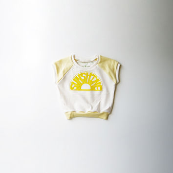 Sunshine Organic Cap-Sleeve Raglan in Natural and Yellow