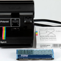 Polaroid Spirit 600 Rainbow Stripe Instant Film Land Camera with Sylvania Flash Bar  & Impossible Project PX 680 Color Protection Film Pack