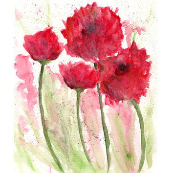 Watercolor flowers, watercolor poppies, flower painting, flower art, poppy painting, red flowers, modern flower art, poppy print, 8X10