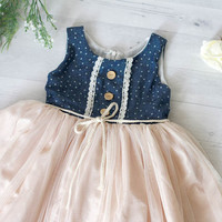 Denim and tutu flower girls dress, blue and cream girl's dress, rustic wedding theme flower girl dress