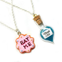 Alice in Wonderland Best Friends Necklace Set - BFF Drink Me & Eat Me Jewelry - Cute, kawaii miniature food