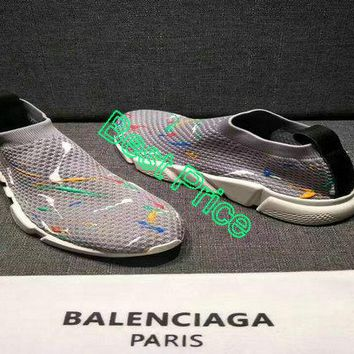 Cheap shoes Balenciaga Speed Knit Trainers Logo Color Drops Grey shoe