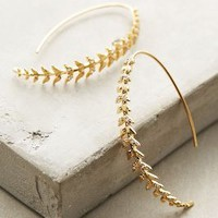 Fine Frond Hoops by Anthropologie Gold One Size Earrings