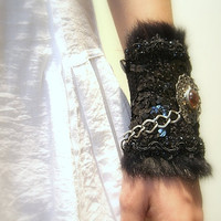 Cuff Bracelet, Crochet, Goth, Black Cotton Yarn, Vintage Medallion, Pewter Chain, Feather Sequined Trim, OOAK
