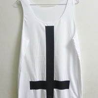Unisex Tank top size M-L White upside down cross tank top men women singlet sleeveless Long shirt