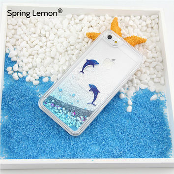 For iphone 6 Case Dolphin Penguin Polar Bear Ocean Blue Liquid Quicksand Glitter Case For iphone 7 7plus 6plus 5 5S 6S Samsung