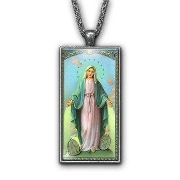 Saint Lady Miraculous Medal Painting Religious Pendant Necklace Jewelry