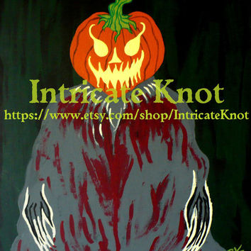 Folk Art / Primitive / Recycled / Cardboard Art - Original Painting - Classic Halloween - Jack O Lantern - Pumpkin - IntricateKnot