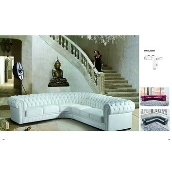 Luxury Paris Transitional Tufted White Leather Sectional Sofa