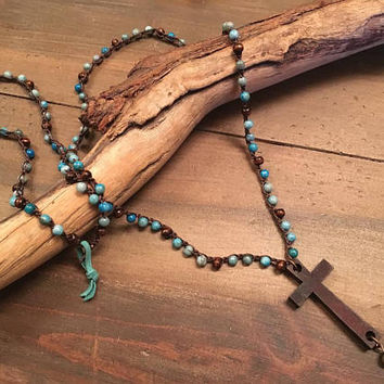 Extra Long Crochet Beaded Cross Necklace, Boho Wooden Cross Pendant, Jasper and Wooden Beads, Layering Necklace