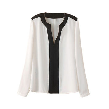 Contrast V-Neck Long Sleeve Loose Chiffon Top In White