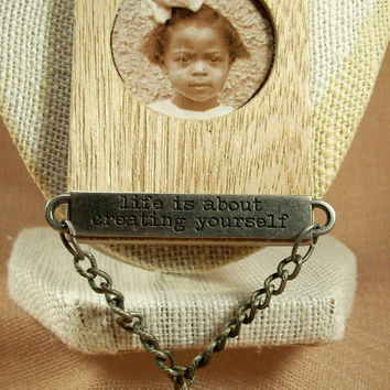 Black History African American Indie Vintage Style Photo Charm Necklace Original Mixed Media Upcycled Toy Jewelry Assemblage Free Shipping