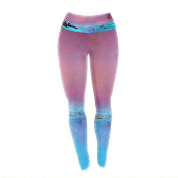 "Oriana Cordero ""Versailles-Abstract"" Pink Blue Yoga Leggings"