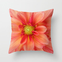 Orange and Pink Dahlia Pillow, Summer Pillow, Floral Pillowcase, Photo Pillow Case, Pretty Pillowcase,16X16 Pillow Cover, 18X18 Canvas Throw