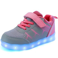Girls Pink & Silver LED USB Charging Luminous Lighted Casual Sneakers