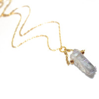 Mystic Quartz Point Necklace Quartz Necklace Quartz Pendant Modern Necklace Modern Jewelry