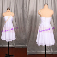 2014 cheap chiffon homecoming dress in white,short simple prom dresses under 100,affordable chic women gowns for wedding party.