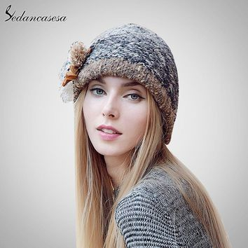 Sedancasesa New Autumn And Winter Female Bucket Hat Hot Selling The Knitting Ball Cap Hat Casual Outdoors Cap For Women AA140005