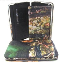 Camouflage Leaves Canvas Black Trim Thick Flat Wallet w/ Checkbook Cover Camo