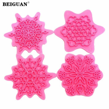 4Pcs/lot Flower Shape Cake Embosser Lace Press Mold Biscuit Stamps Fondant Sugarcraft Cookie Cutter Kitchen Tools Baking