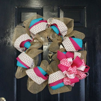 Burlap Wreaths for the Door, Front Door Wreath, Chevron Burlap Wreath, Deco Mesh Wreath, Wreath Front Door, Door Wreaths, Chevron Bow