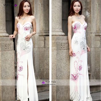 Sexy sweetheart pink and silver sequin heart pattern with crystal side slit long white mermaid prom dresses open back gala dress