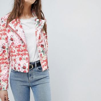 ASOS DESIGN Floral Leather Look Biker at asos.com