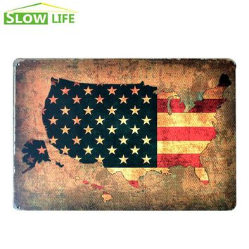 The Flag Of The United States Sign Wall Decor Metal Sign Vintage Home Decor Tin Sign Metal Plaque Cool Metal Plate Metal Poster