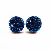 Cobalt Blue Flame Druzy Stud Earrings n2 Larger size by AstralEYE