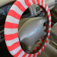 Red and Gray Stripe Steering Wheel Cover