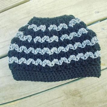 Black and Grey Messy Bun Pony Tail Crochet Hat