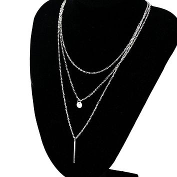 New Women Bang Bang Multilayer Pendant Chain Statement Necklace Silver