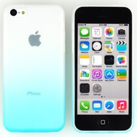 Teviwin(TM)(A135) 4pcs Gradient Color Matte Clear Protective Skin Soft TPU Gel Snap On Case Cover for Apple iphone 5C (Sky blue/Pink/Green/Red)