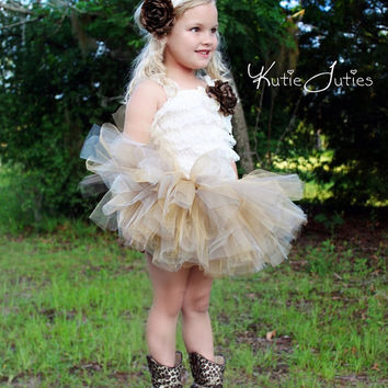 Ivory, Brown, Gold, Tutu, Romper & Headband- Cowgirl, Cheetah, Fall, Cream, Birthday, flower girl, pageant, outfit, Girl, toddler, prop