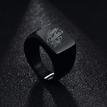 Customized Services New Fine Jewelry High Polished Signet Solid Stainless Steel Ring Engraved the Photo and Name