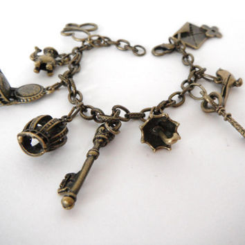 Antiqued Brass Charm Bracelet Butterfly Chair Teapot Crown Key  Gift under 30 fashion