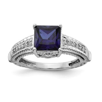 Sterling Silver Lab-Created Blue Sapphire Square Princess & CZ Ring