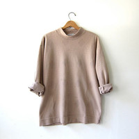 vintage textured shirt. oatmeal beige slouchy top. long sleeve pullover. minimalist.