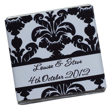 100 Personalised Chocolate Wedding Favours - Elegant Black & White Damask