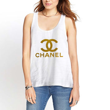 Chanel Gliter Gold Womens Tank Top *